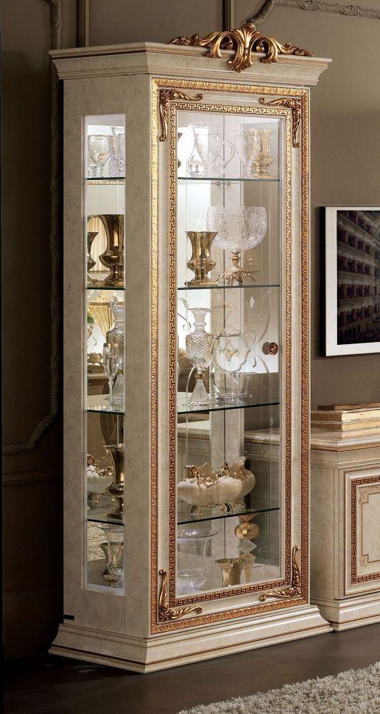 Arredoclassic Leonardo 1 Door Glass Display Cabinet Glass Cabinets Display Living Room Decor Furniture Luxury Living Room Design