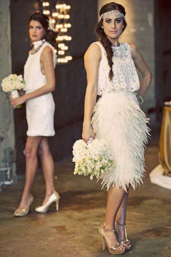 peinado de novia: las trenzas con vestido inspirado en los años 20