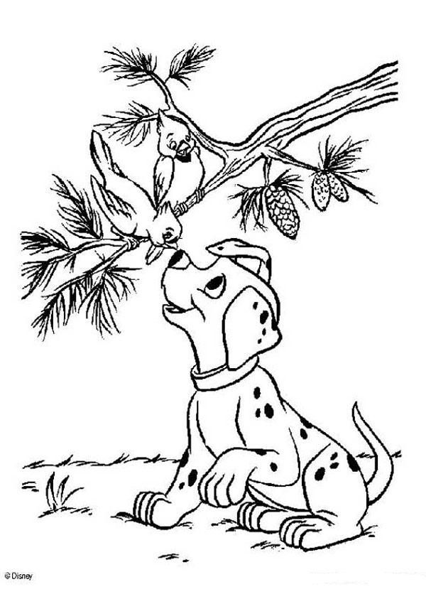101 Dalmatians coloring pages - Birds and puppy | Coloring pages ...