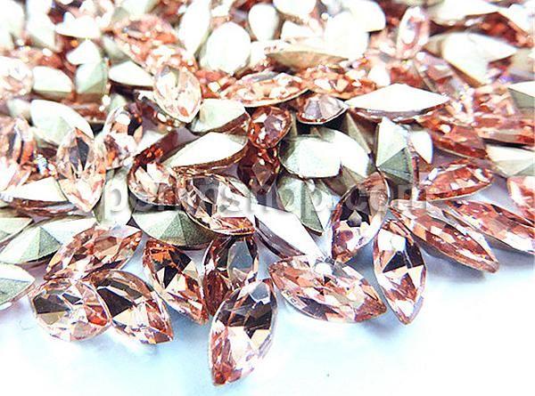Kristall Cabochons, Pferdeauge, heller Pfirsich, 4x8mm