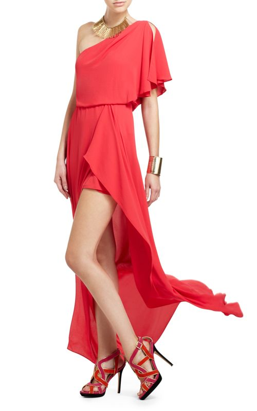 BCBG Max Azria Kendal One-Shoulder Ruffle Red Evening Gown [BCBG ...