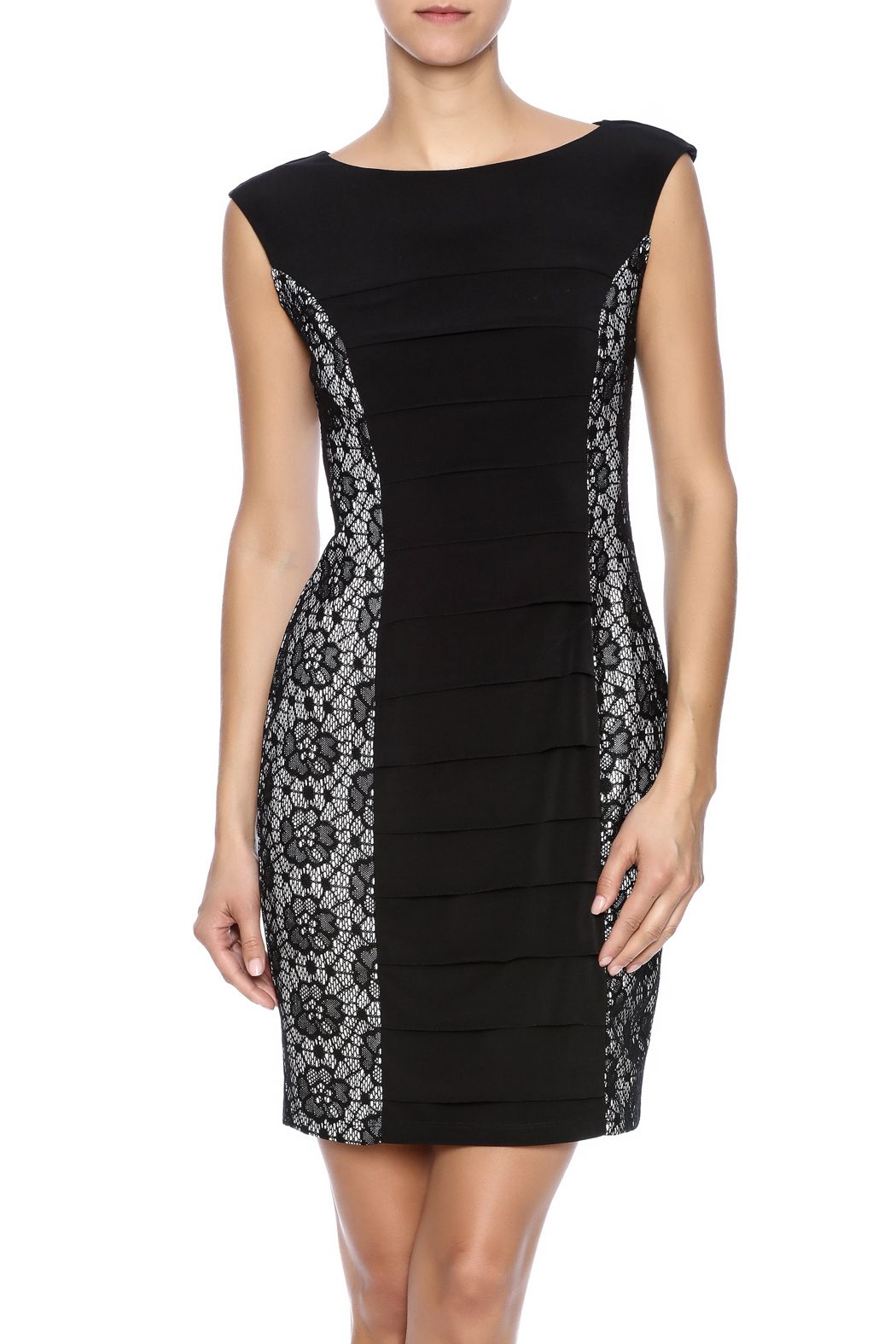 04303dd4e90 Black sleeveless sheath with overlay lace side panels. Bodycon Dress by  Enfocus Studio. Clothing - Dresses - LBD Kentucky