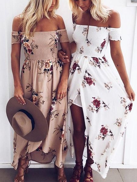 912e795e2e White Off Shoulder Shirred Floral Print Wrap Tulip Beach Maxi Dress |  Fashion | Fashion, Maxi dress with slit, Summer dresses