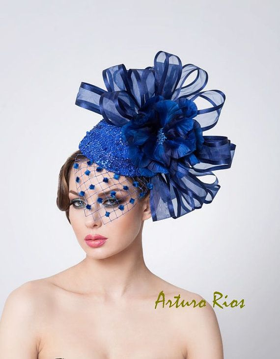 Royal Blue fascinator Cocktail hat Derby Hat by ArturoRios on Etsy ... 274b8db05ef