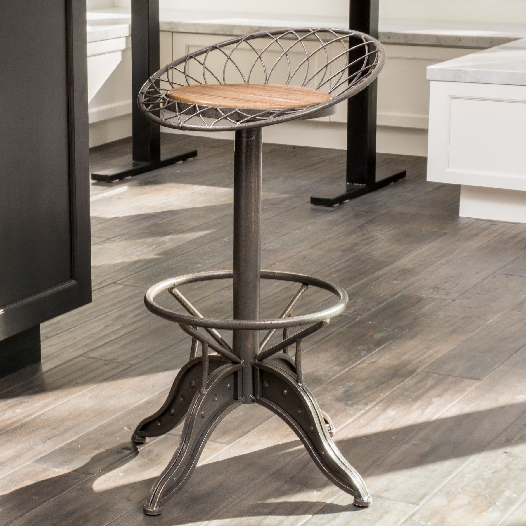"Found it at Wayfair Alonso Weathered 26"" Swivel Bar Stool"