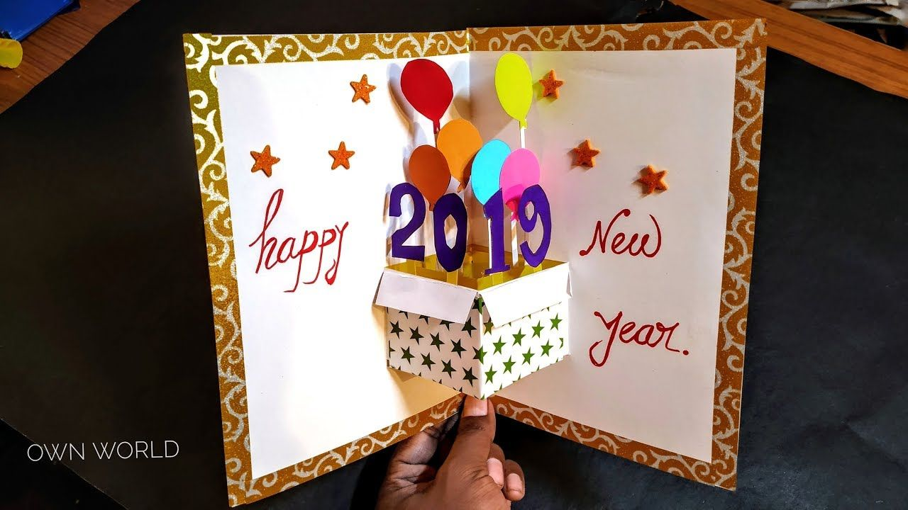 Very Easy New Year Pop Up Greeting Cards How To Make New Year Card A Pop Up Greeting Cards New Year Cards Handmade Happy Birthday Cards Diy