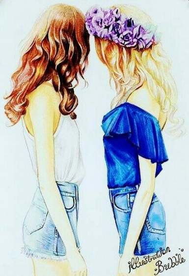 Cute Friend Drawings : friend, drawings, Trendy, Drawing, Girls, Friends, Kawaii, Drawings,, Friend, Drawings
