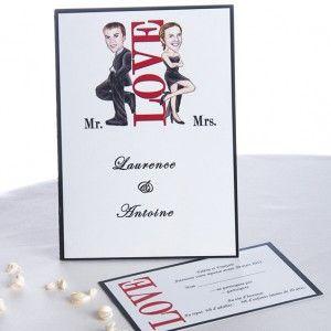 Faire Part Mariage Moderne Amour Tenues De Soiree Noires JM208  #weddinginvitations #weddingcards #joyeuxmariage