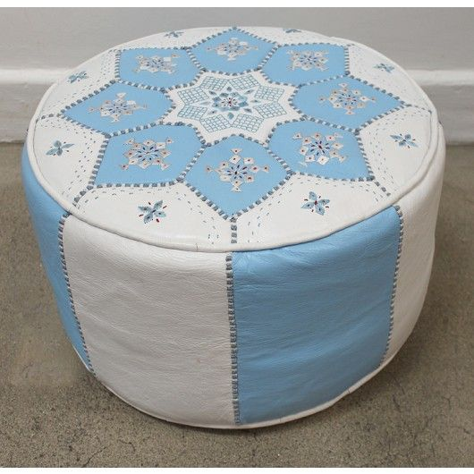 blue and white Moroccan leather pouf