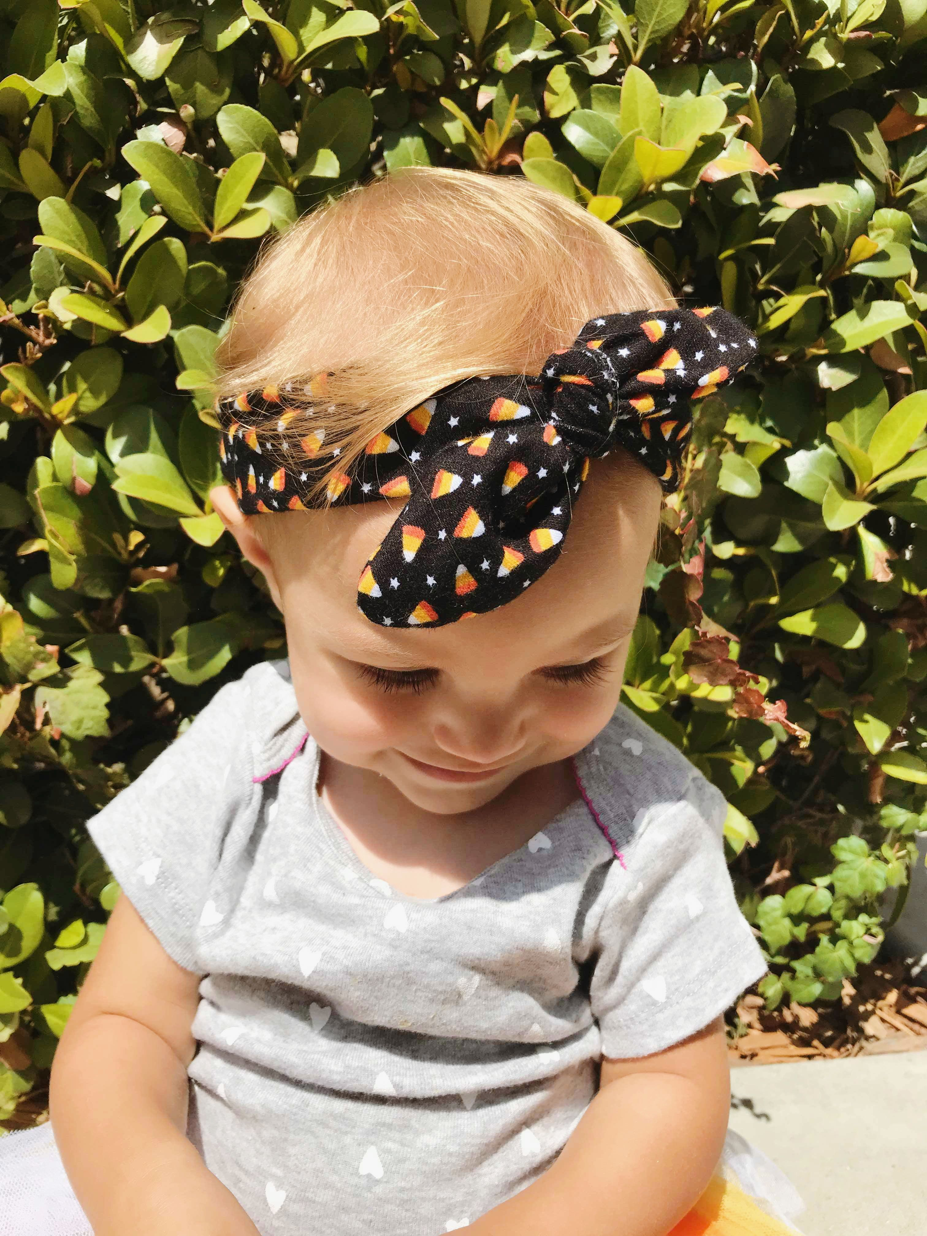 baby or adult head band, halloween headband with candy corn