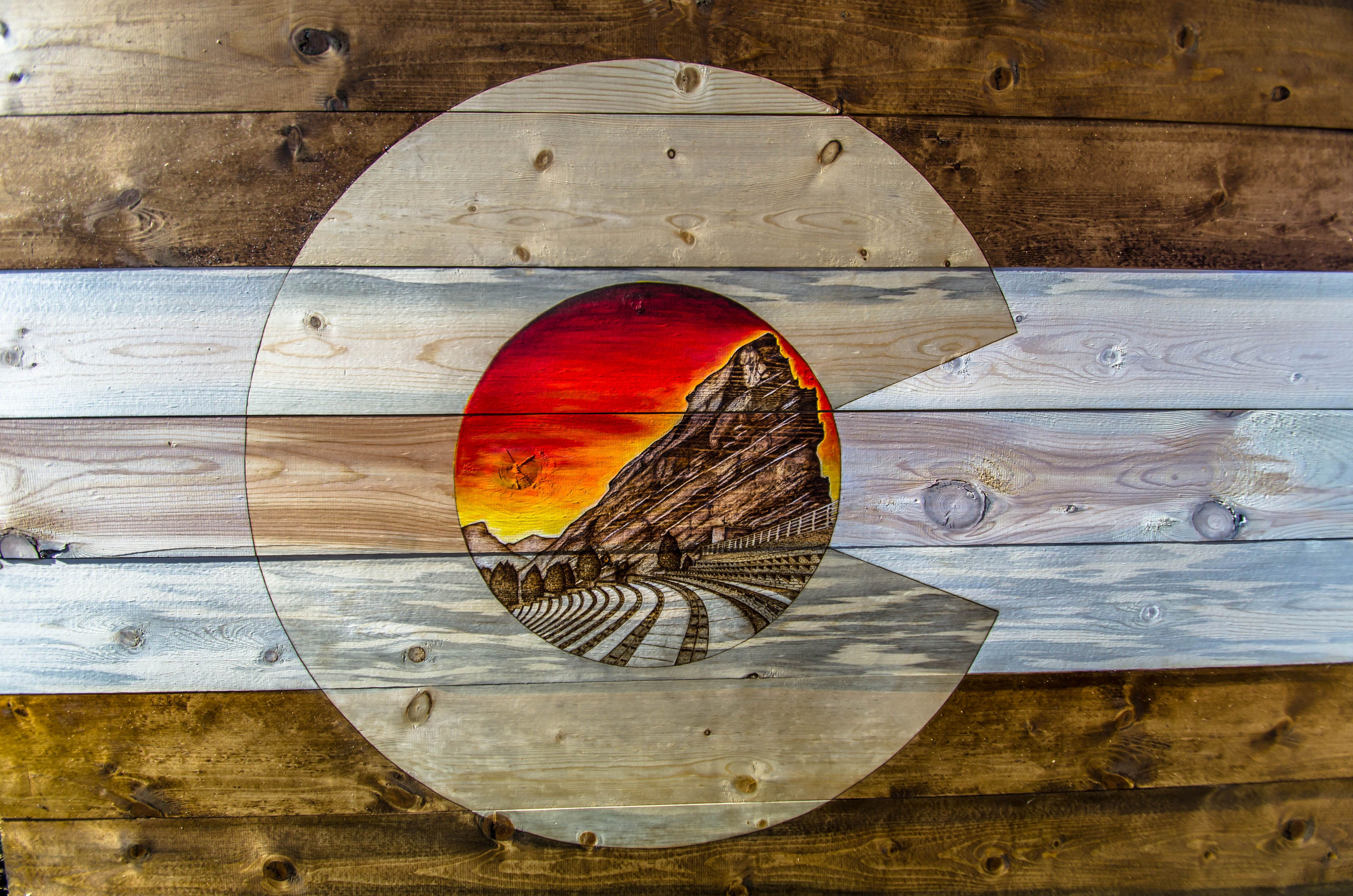 Red Rocks Amphitheater Inspired Rustic Colorado Flag Made From Reclaimed Beetle Kill Pine Made With Love From C Colorado Art Colorado Wall Art Art Inspiration