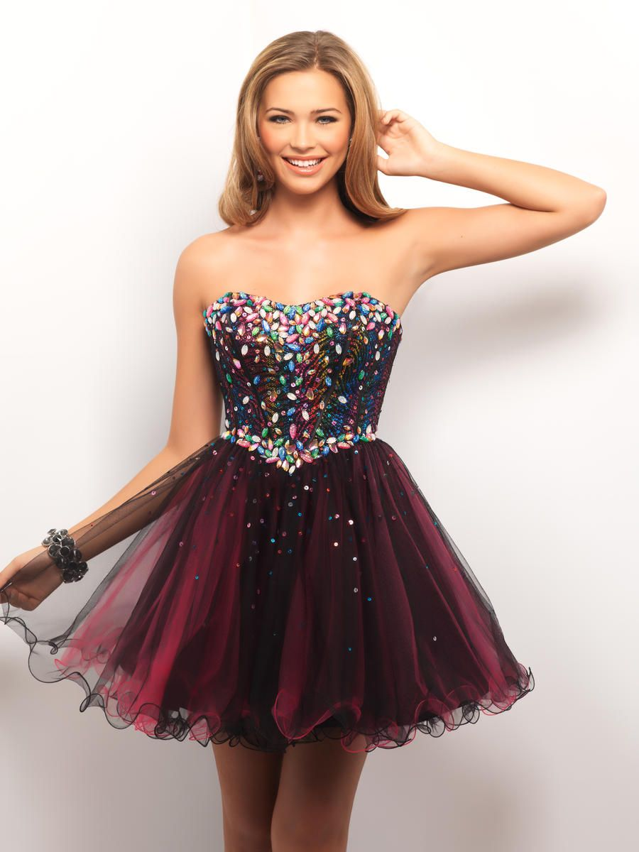 Strapless Short Crystal Tulle A Line Homecoming Dress
