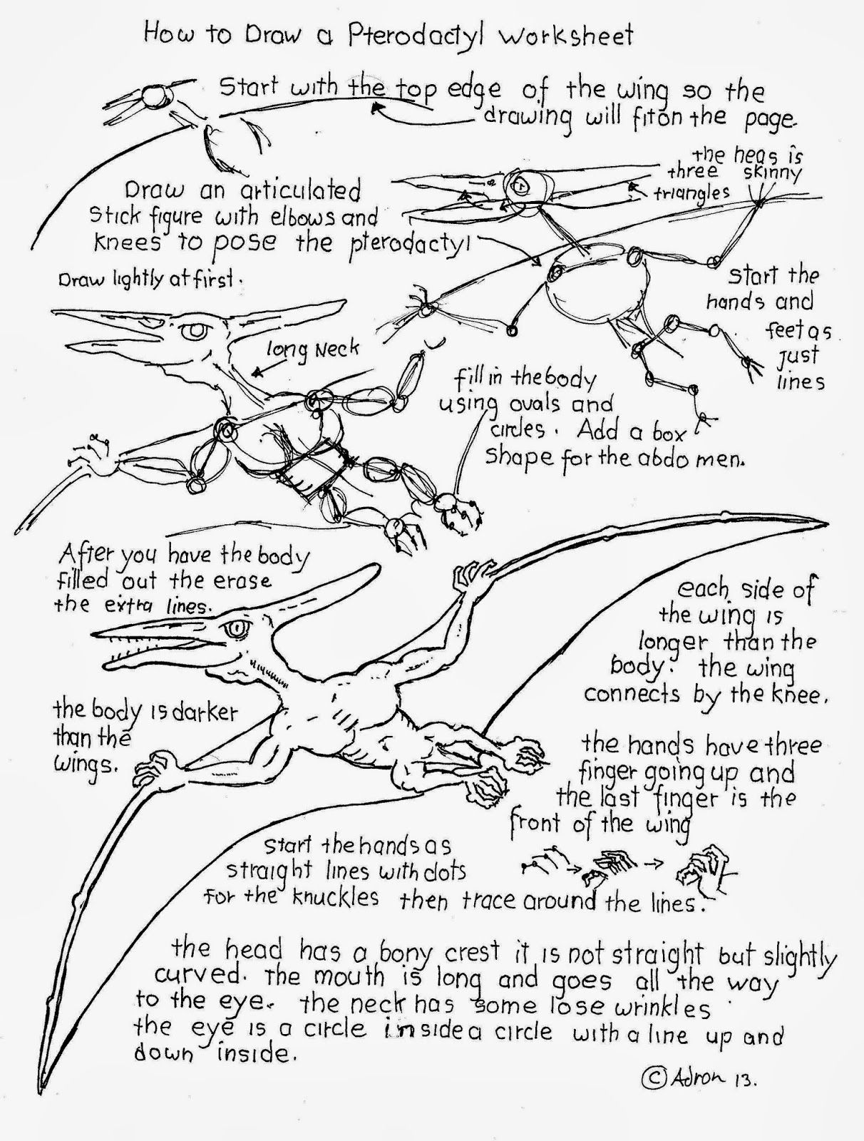 How To Draw A Pterodactyl Worksheet