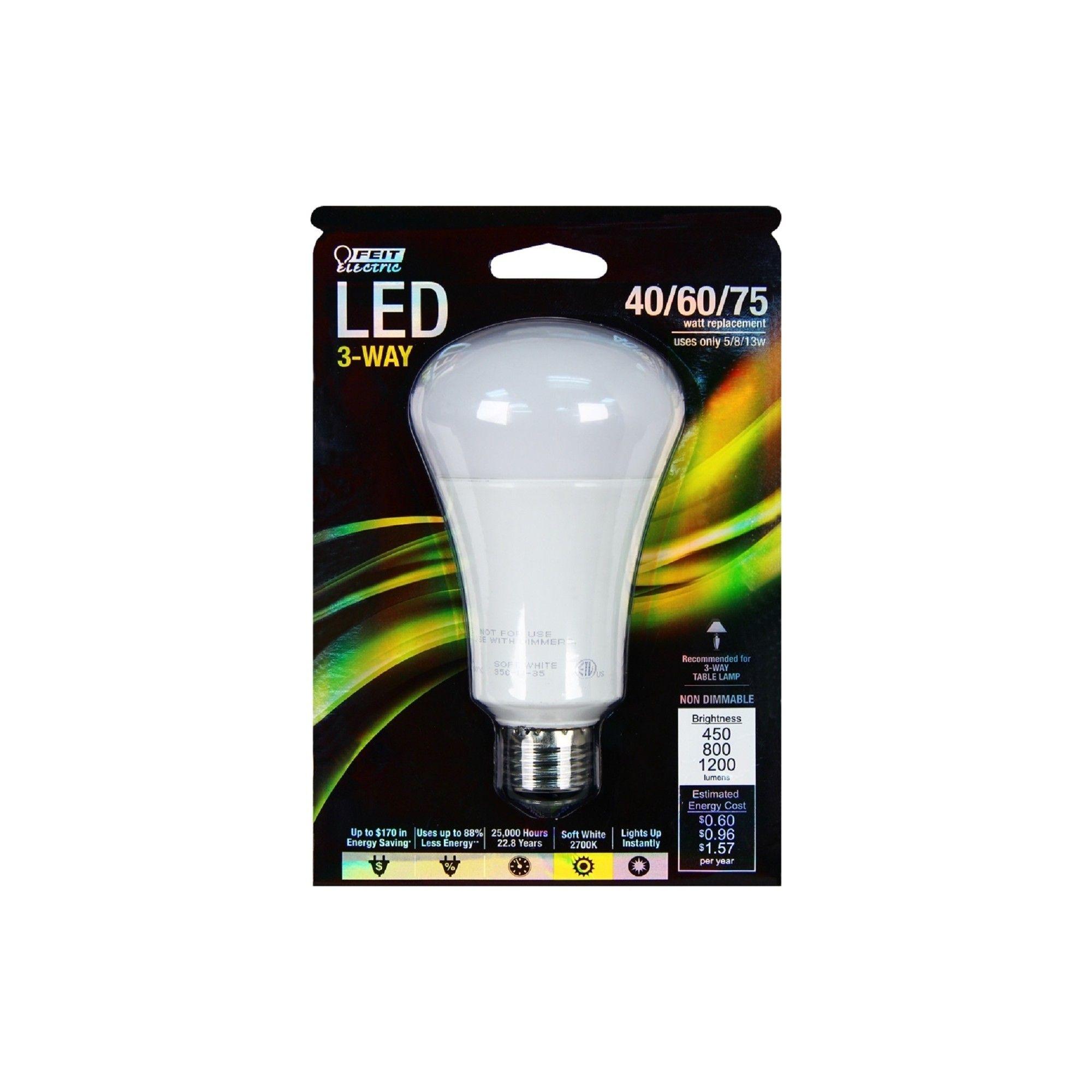 Feit 40 60 75 Watt 3 Way Led Light Bulb Soft White Light Bulb
