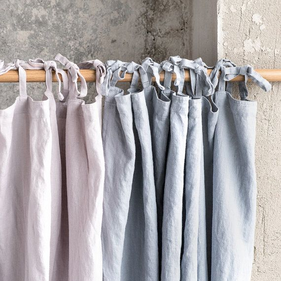 Light elephant grey. Washed linen curtains/ linen drapes in light