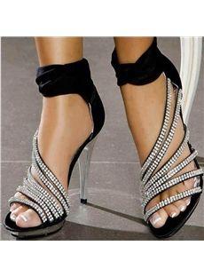 fd7435d4a878 Fashion Rhinestone Ankle Wrap Dress Sandals