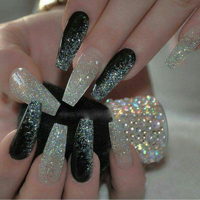 Black and glitter coffin nails | Nails | Pinterest | Diseños de uñas ...