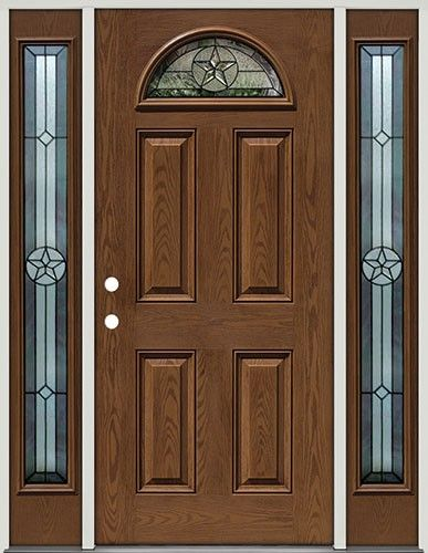 prefinished entry doors. good for west facing front door. pre-finished oak fiberglass door with sidelites star fan lite - entry from clearance center prefinished doors e