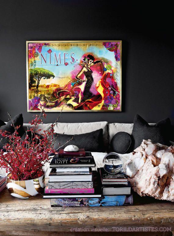 Affiche Nimes Flamenca Jardins par TorildArtistes sur Etsy ...