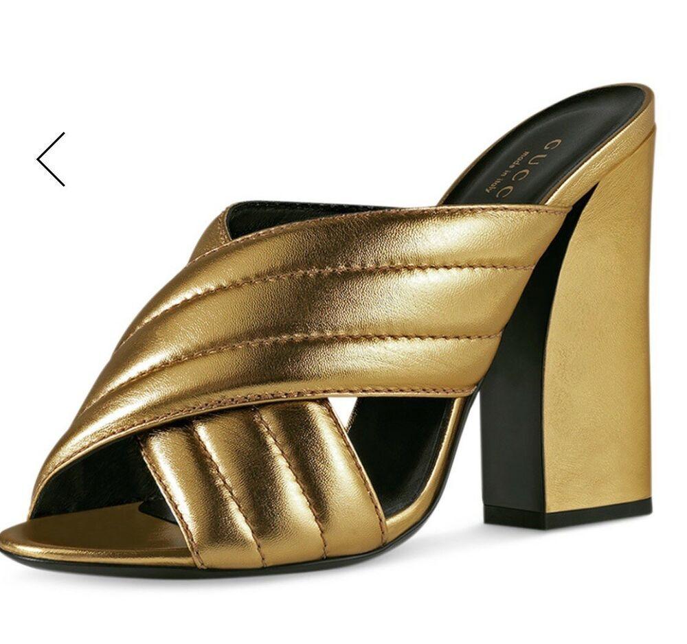9287a957becef7 Gucci Webby Metallic 110mm Sandal (sz  39.5)  fashion  clothing  shoes