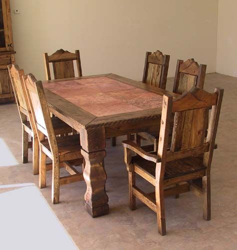 Western Style Dining Tables | Ponderosa Pine And Fir With Travertine Tile  Inlay