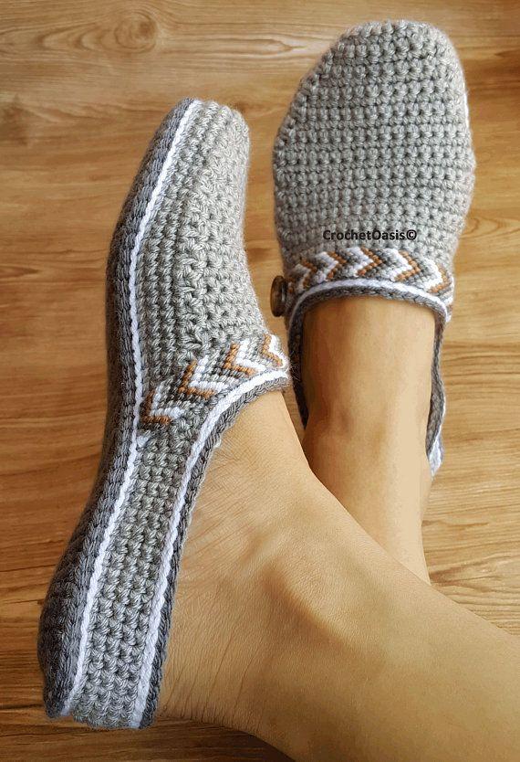 CROCHET PATTERN Womens Tribal Clogs – Crochet Clogs Pattern – Tribal Clogs – Crochet Shoes – Crochet Shoes Pattern
