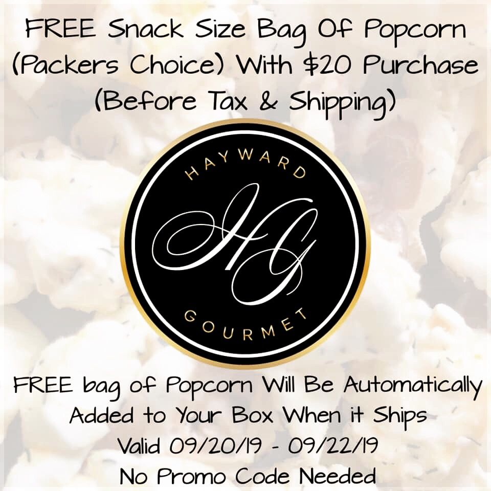 FREE Snack Bag of Popcorn Perfect Weekend Sale! FREE Snack Size Bag of Popcorn (Packers Choice) With $20 Purchase (Before Tax & Shipping) Your FREE Bag of Popcorn Will Be Added To Your Box Automatically When It Ships! Valid 09/20/19 - 09/22/19 NO Promo Code Needed!