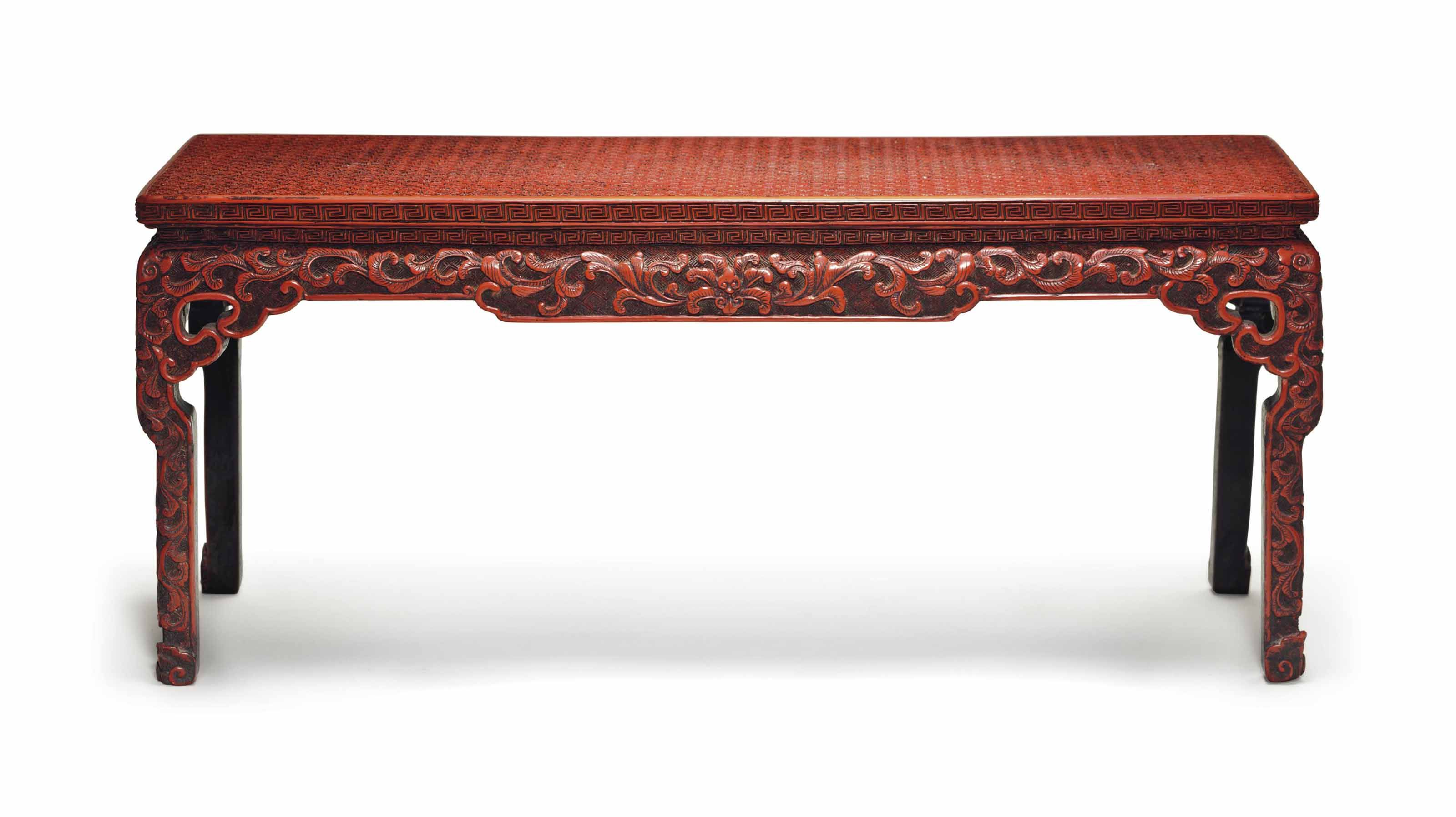 Red Lacquer Corner Leg Table Form Stand
