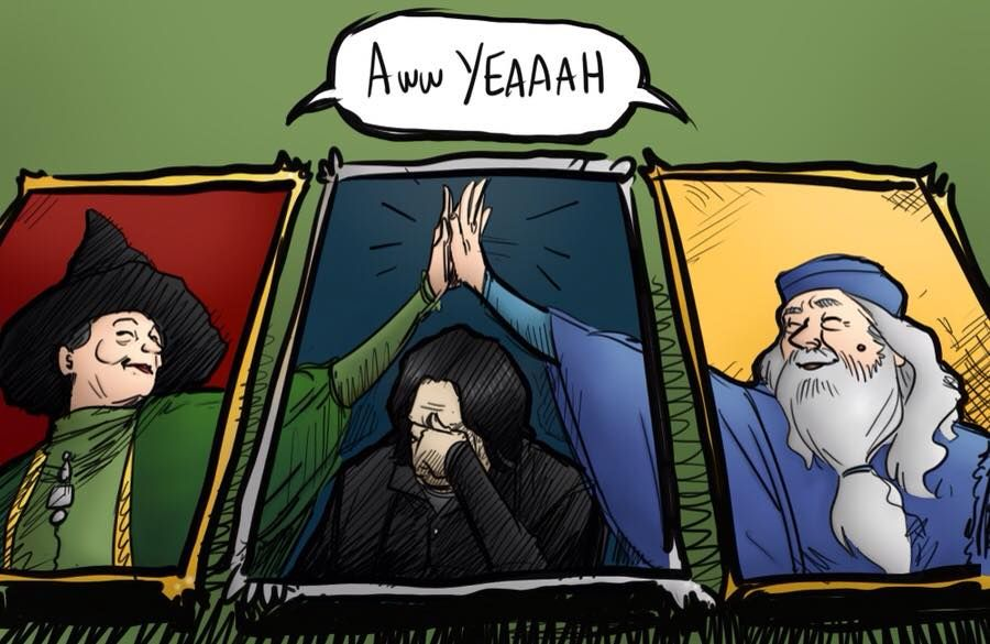 """lol Severus is just like """"What the heck"""" and Dumbledore and McGonagal just celebrate not caring what Snape thinks"""
