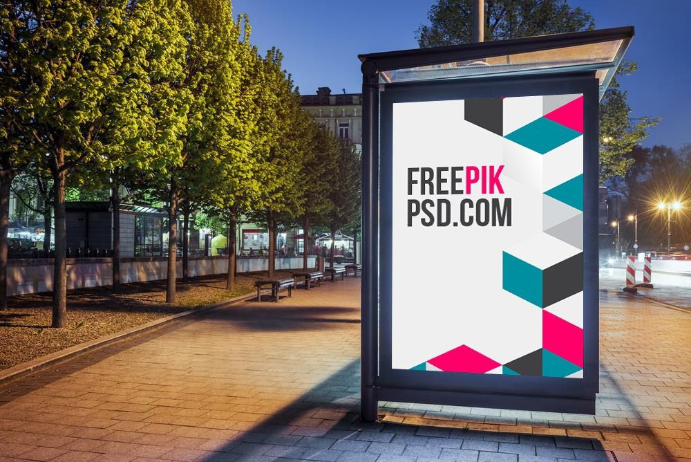 Bus Stop Poster Mockup Psd Download