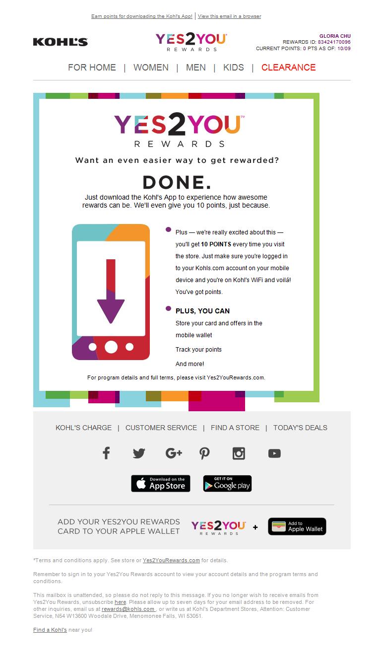 Kohl S Mobile App Email Mobileapp Loyaltyprogram Loyalty Marketing Kids Clearance Loyalty Program