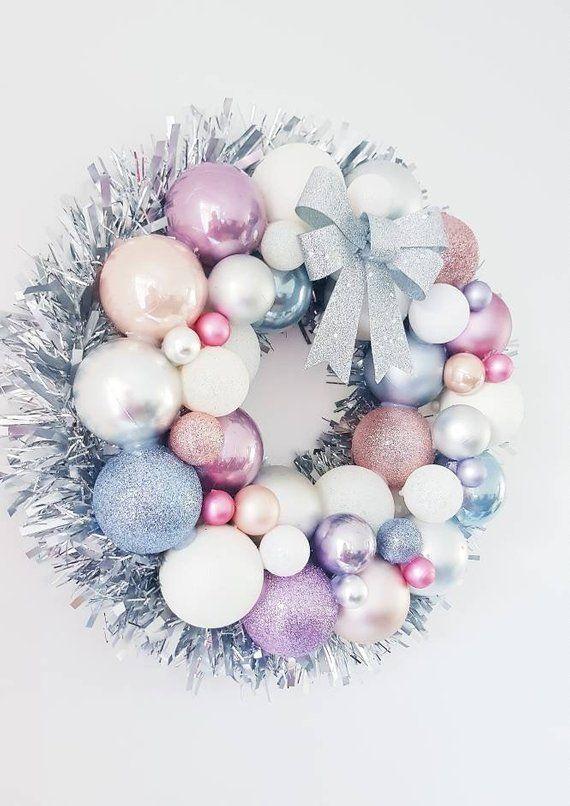 Christmas Bauble Wreath, Unicorn Inspired Bauble Wreath, Christmas Wreath, Festive Wreath, Pastel