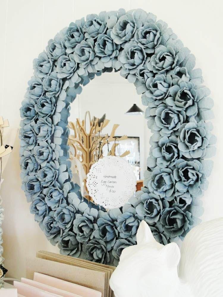 rosen aus eierkarton zum gestalten eines rahmens kinder. Black Bedroom Furniture Sets. Home Design Ideas