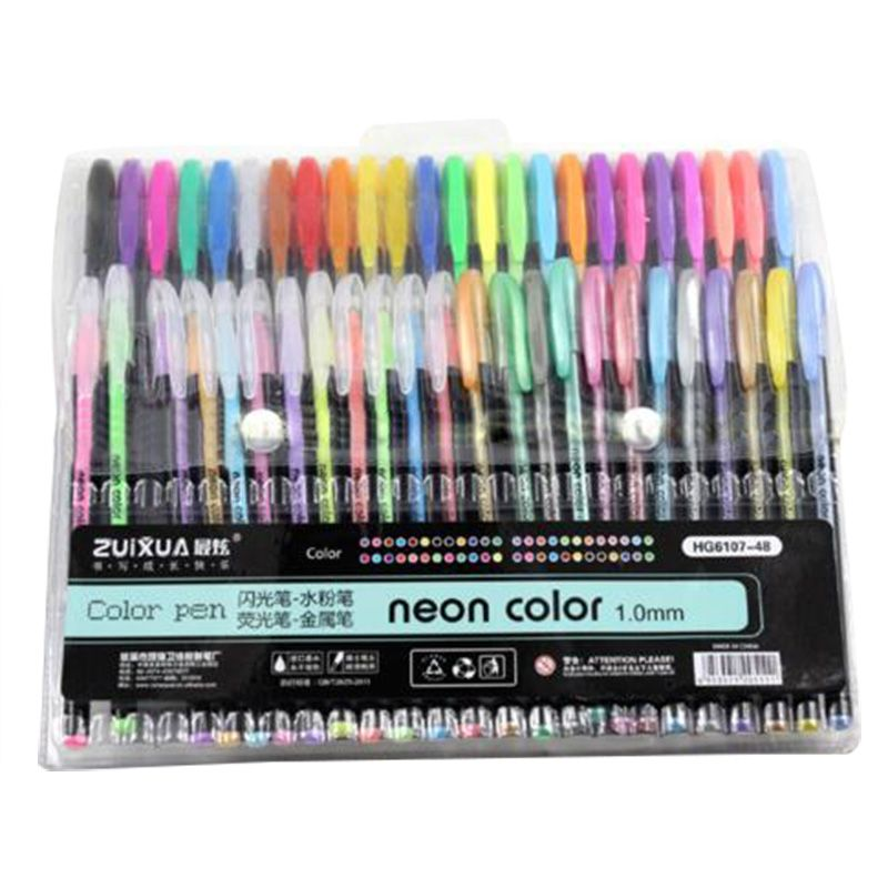 ZUIXUAN 48 Gel Pens set Color gel pens Glitter Metallic pens Good ...