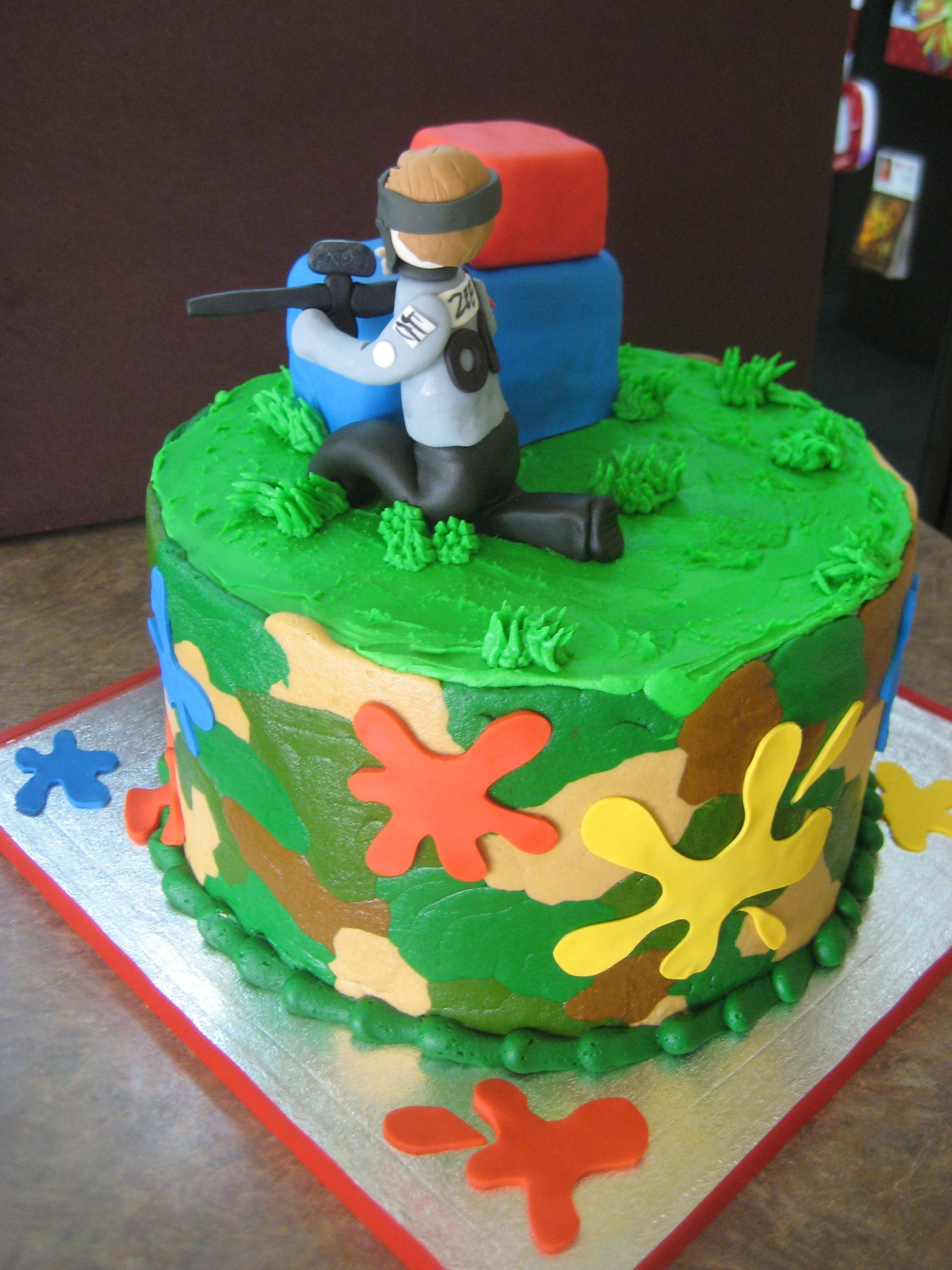 Paintball Cake Birthday Party Idea Kids Fun Family Splatmaster Low