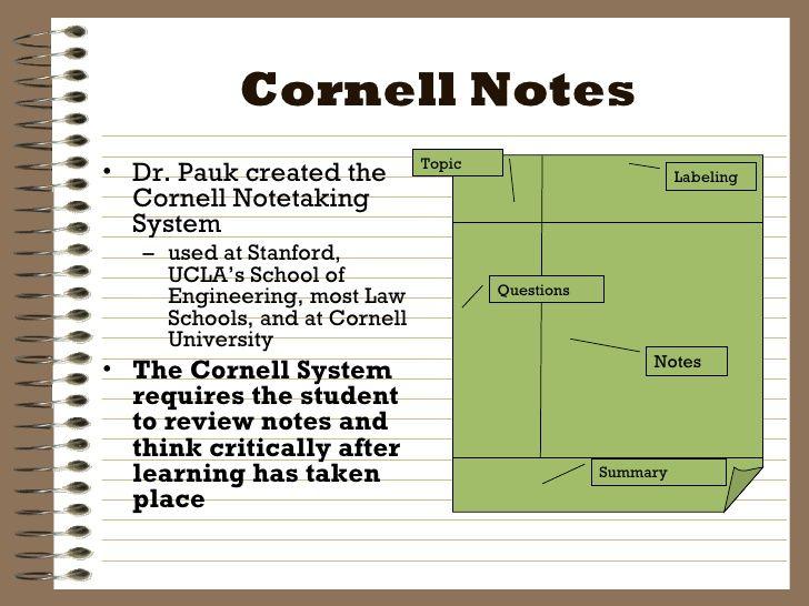 Cornell Notes u003culu003eu003cliu003eDr Pauk created the Cornell Notetaking - note taking template microsoft word