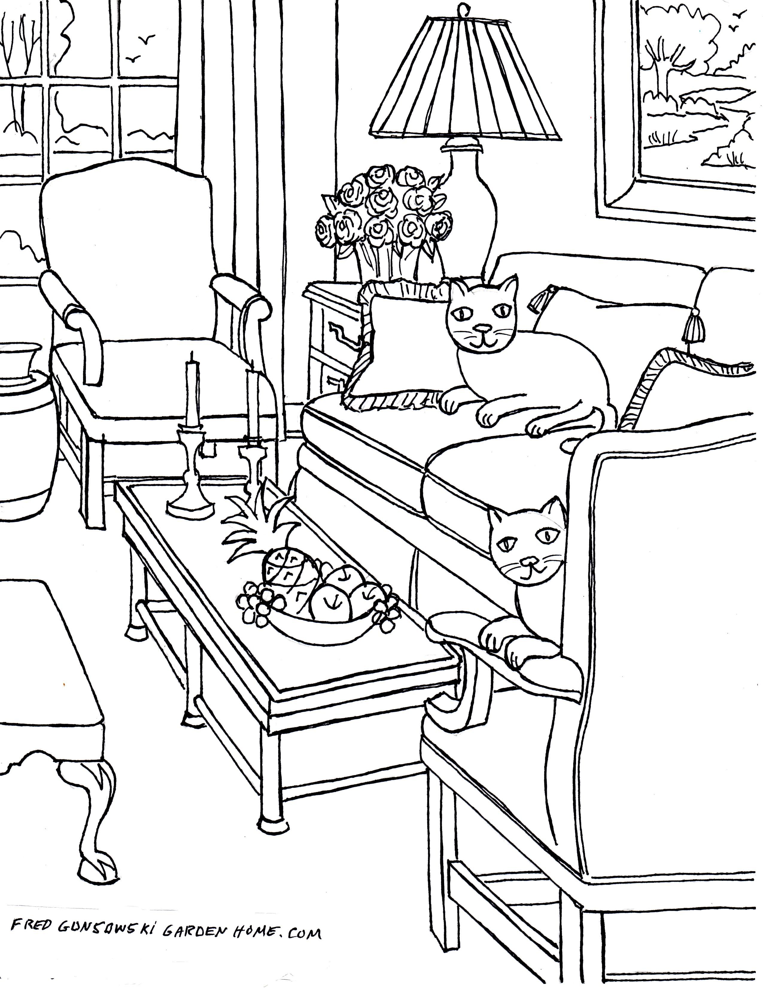 Fun Living Room Coloring Pages