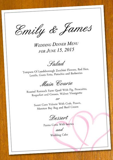 free Wedding Menu template for a DIY projectNote you need a - sample menu template