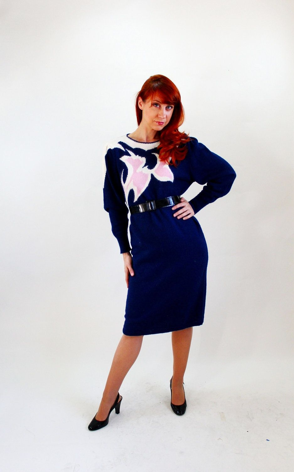 76562dab9f Sale - 1980s Navy Blue white Pink Sweater Dress. Glam. Hipster. Office  Fashion. Work. Fall Fashion. Winter Fashion. Size Large.  34.00