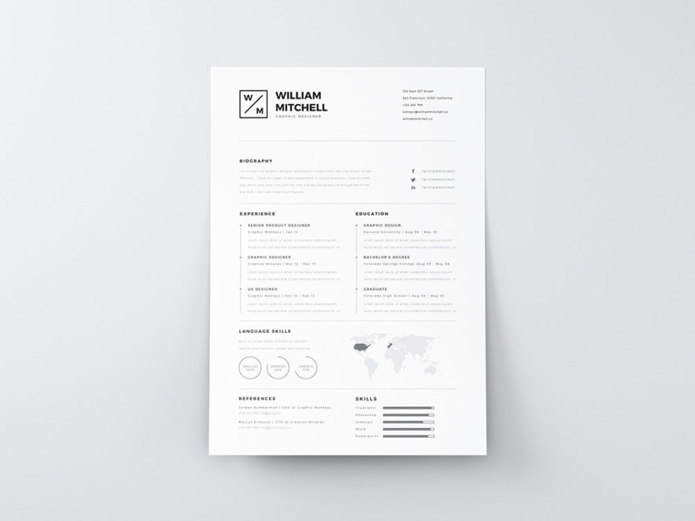 Clean Simple Resume Free Clean Simple Resume Template In Psd And Ai Format Simple Resume Template Resume Template Free Resume Template