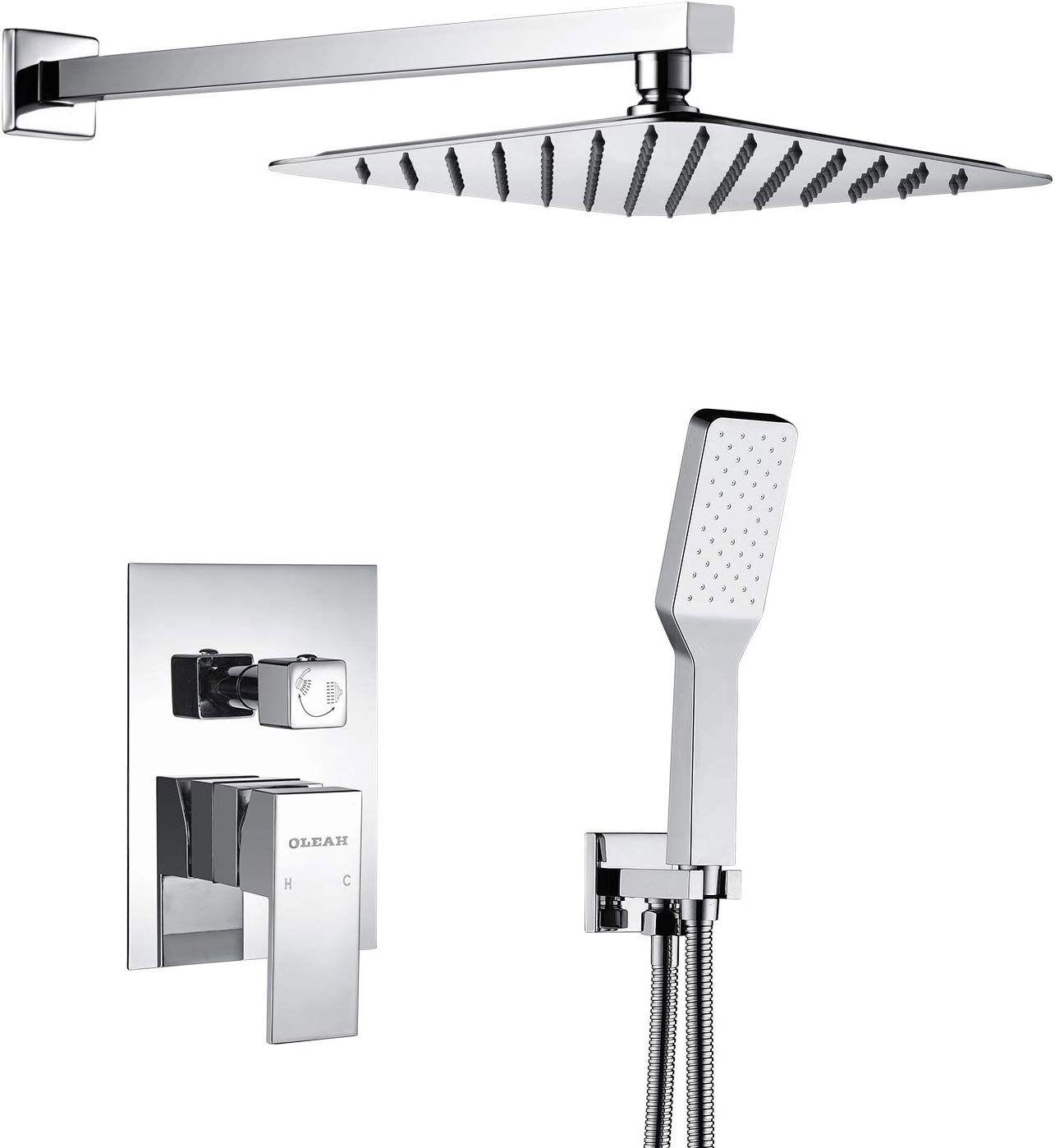 Oleah Bathroom Rain Mixer Shower Faucet Combo Set Wall Mounted