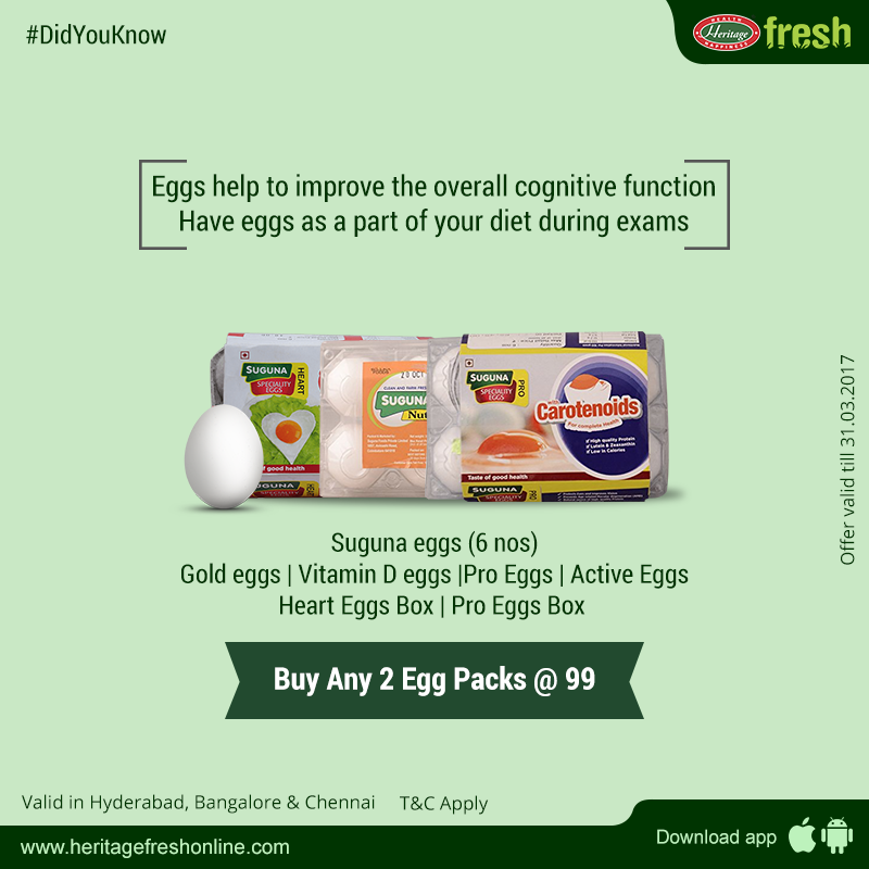 Eggs provide significant amounts of vitamins and minerals and are also an excellent source of high-quality proteins. #HeritageFreshOnline #SugunaEggs #GroceryShopping