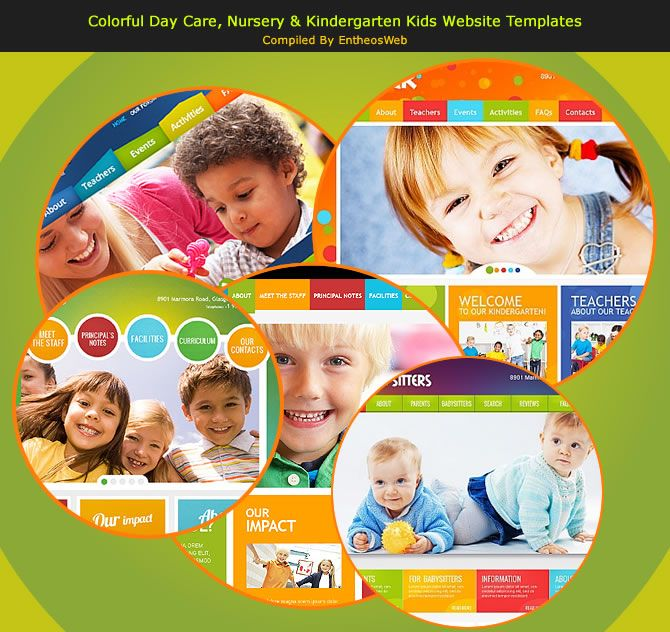 Colorful Day Care, Nursery U0026 Kindergarten Kids Website Templates