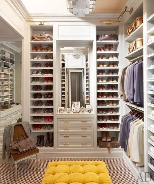 Walk in closet. Featured shelving. Would love a place to sit ...