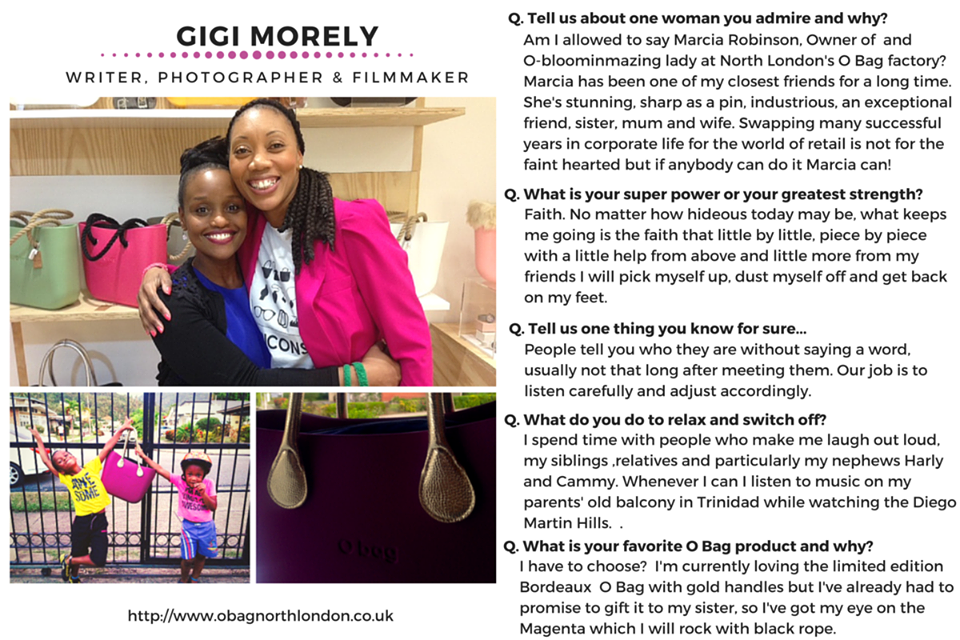 Our #WCW this week is Gigi Morely, writer, photographer and filmmaker.  We are so thrilled she shared her experiences with the #OBag London community!