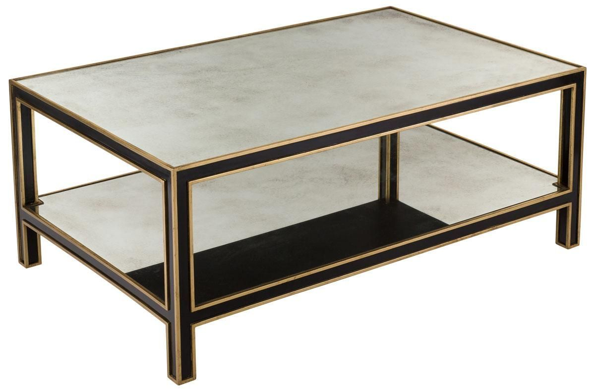 Safavieh Cambria Coffee Table Black Gold Wood Mirror Acacia