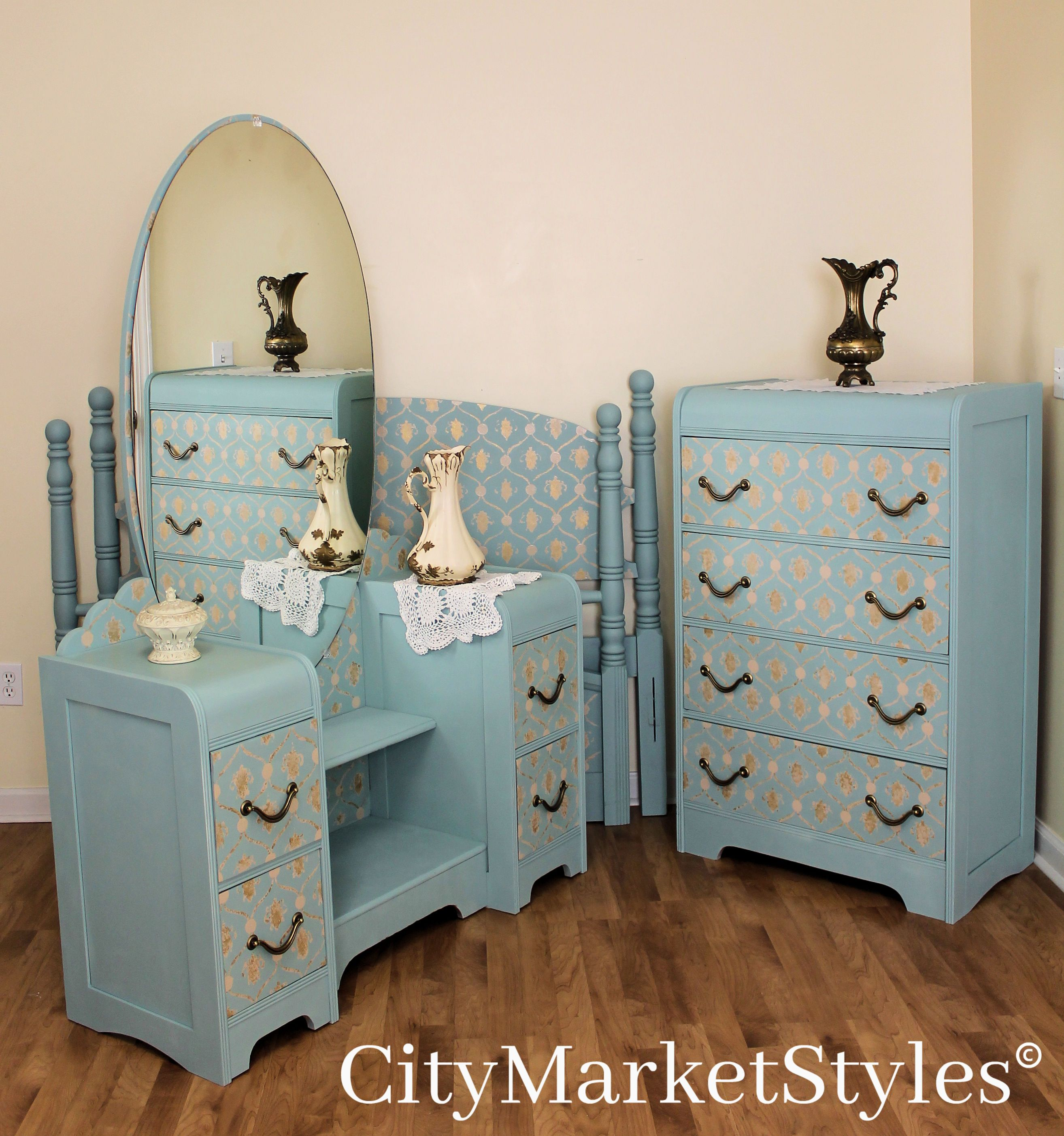 Painted blue waterfall bedroom set by City Market Styles