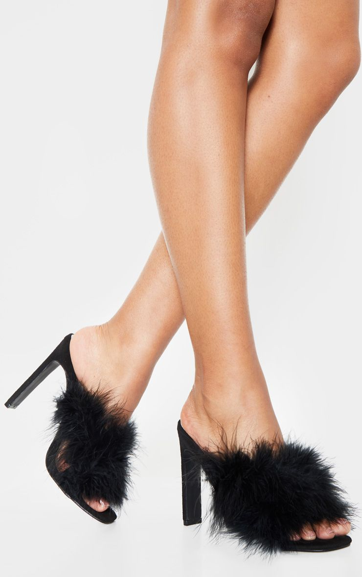 Black Feather Mule | Black strap heels