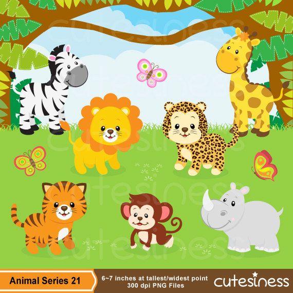 Jungle Animal Clipart Cute Animal Safari Clipart Free Etsy In 2021 Animal Clipart Baby Jungle Animals Cartoon Jungle Animals