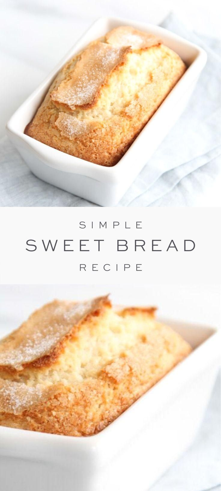 #sweetbread  #quickbread  #brunch  #breakfast  #recipe  #easter  #julieblanner #Bread #incredibly  Sweet Bread is so incredibly easy to make and only takes 5 minutes hands on time. This easy Sweet Bread recipe requires only staple ingredients: sugar, flour, baking powder, salt, eggs, milk and vegetable oil! It's easy quick bread recipe for breakfast, snack or dessert that also makes a beautiful neighbor, hostess or holiday gift!